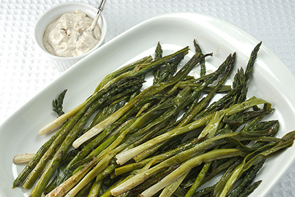 Roasted Asparagus and Scallions with Mustard Cream Sauce | Sauce and ...